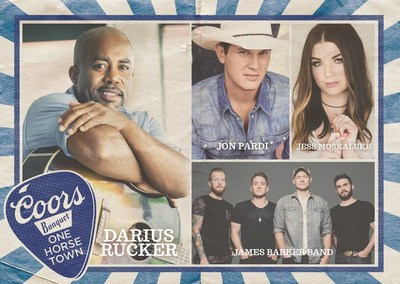 Darius Rucker, Jon Pardi, Jess Moskaluke, and James Barker Band will perform at the 3rd annual Coors Banquet One Horse Town (CNW Group/Molson Coors Canada)