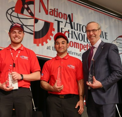 National Automotive Technology Competition winners John DeLuca and Evan Wagner and GNYADA President Mark Schienberg