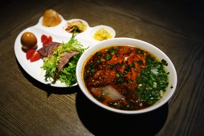 Photo taken on April 12, 2017 shows a package meal of beef noodle at Alalan Beef-Noodles-Themed Restaurant in Chengduan District in Lanzhou, capital of northwest China's Gansu Province.