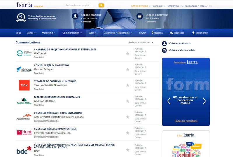 Capture d'écran du nouveau site (Groupe CNW/Isarta Inc.)