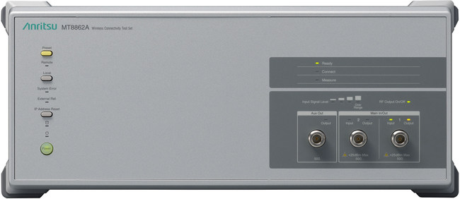 The Anritsu Wireless Connectivity Test Set MT8862A is the industry's first solution capable of measuring the performance of an 802.11ac-capable WLAN device under test (DUT) in the actual operating state.