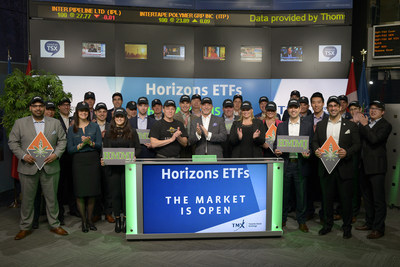 Steve Hawkins, President and Co-CEO, Horizons ETFs, joined Dani Lipkin, Head, Business Development, Exchange Traded Funds, Closed-End Funds, and Structured Notes, TMX Group to launch Horizons Medical Marijuana Life Sciences ETF (HMMJ). Horizons ETFs is a financial services company and a subsidiary of the Mirae Asset Financial Group. Horizons currently has 77 Exchange Traded Funds listed on Toronto Stock Exchange, with a market capitalization of over $7 billion. HMMJ commenced trading on Toronto Stock Exchange on April 5, 2017. (CNW Group/TMX Group Limited)