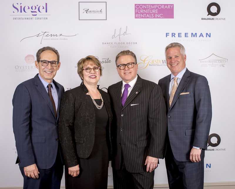 Speeches from special guests honouring this momentous occasion included (L toR) Stephen Rosenstock, Executive VP of Operations, Omni Hotels & Resorts; Beth Hanna, Chief Executive Officer, Ontario Heritage Trust; Christophe Le Chatton, General Manager and Terry Mundell, President & CEO, Greater Toronto Hotel Association (CNW Group/Omni King Edward Hotel)