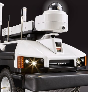 The Sharp INTELLOS A-UGV is a cost-effective, multi-terrain, mobile sensor platform that can capture video, audio and environmental data, while providing a visible deterrent.