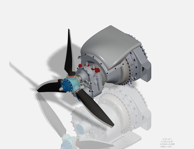 CAD Representation of the UAVT UTP50R Turbobrop Propulsion system to be demonstrated in flight in the NASC TigerShark XP. Credit: UAV Turbines, Inc.