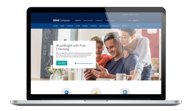 The redesigned bbvacompass.com is the first website in the BBVA portfolio to boast the global banking outfit's updated visual look and reinforce its new brand identity that's centered around creating opportunities.