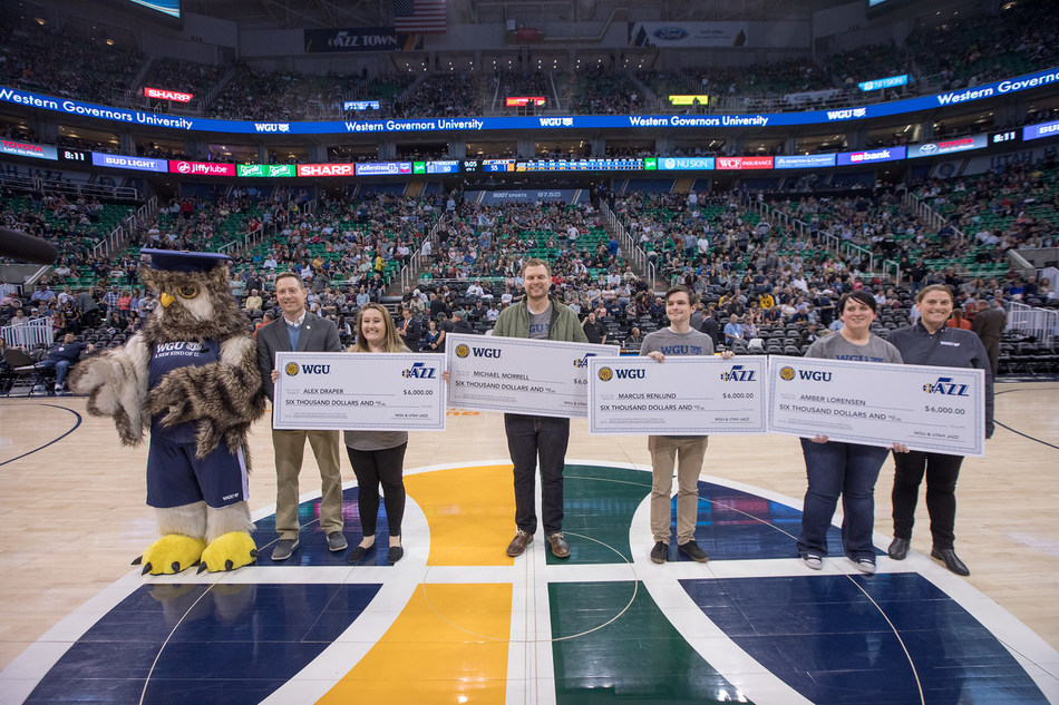 The Utah Jazz and WGU teamed up to award four students with tuition for one year.