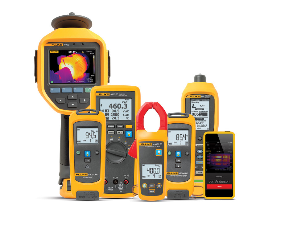 Teams have full access to the Fluke Connect reliability platform. They use the wireless tools to electronically collect and tag maintenance data and the app, software, and Fluke Connect cloud to store and analyze the results and recommend actions.