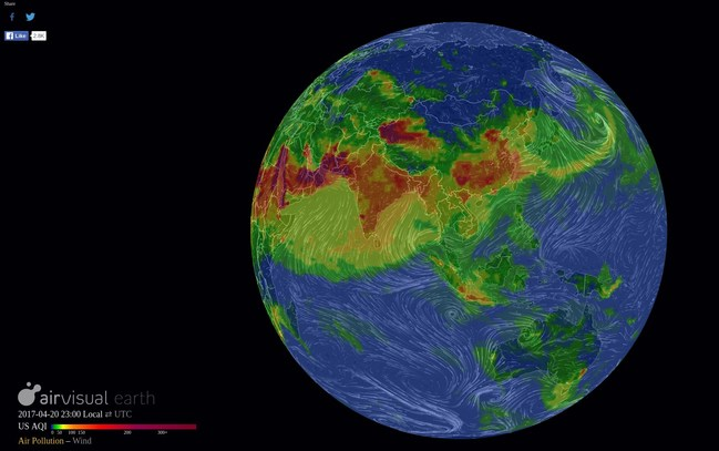 Watch in real time the air pollution on earth: airvisual.com/earth
