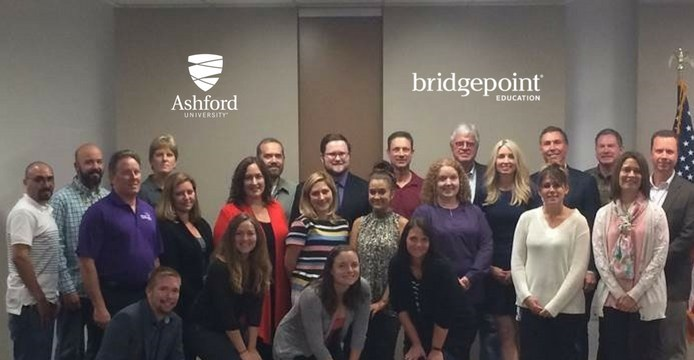San Diego-based employees who received the President's Volunteer Service Award with Bridgepoint Education CEO Andrew Clark and Ashford University President Dr. Craig Swenson.