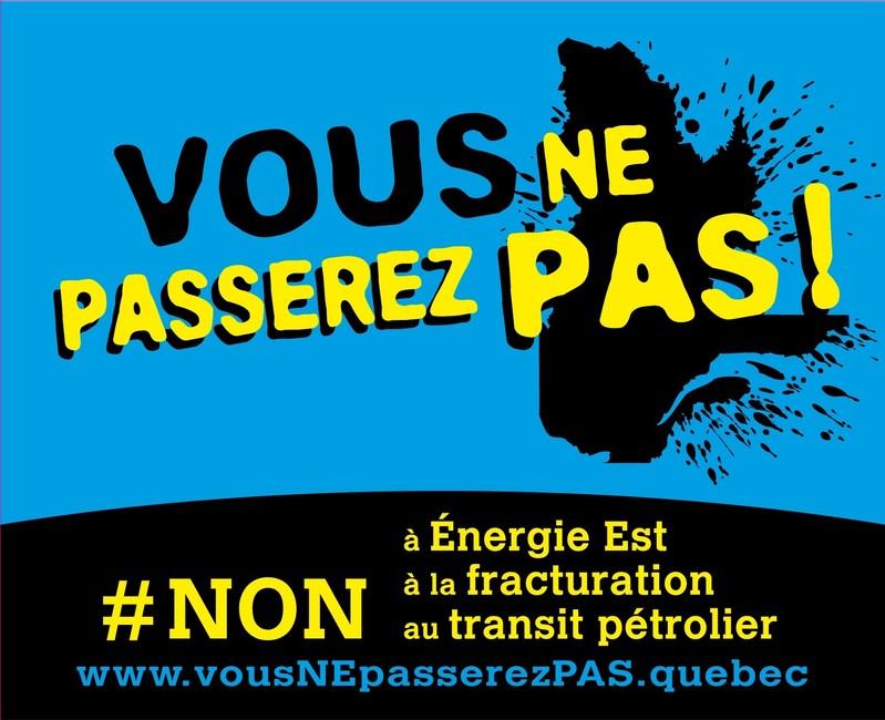 Visuel générique de l'opération #VousNEpasserezPAS (Groupe CNW/Regroupement vigilance hydrocarbures Québec (RVHQ))