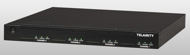 The Telairity BE8700 distribution encoder. Configurable from 1 to 4 channels, with multiplexed or separate ASI outputs, and dual multiplexed Gigabit Ethernet outputs. Channels auto-configure as HD or SD, according to source input.