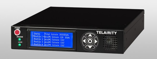 The Telairity BE8600 contribution encoder. Single channel, 4:2:0 HD/SD modes for high-quality, low-bitrate backhaul transmission over crowded urban airways or direct-to-viewer transmission; 8-bit/10-bit 4:2:2 HD modes for source editing and archiving