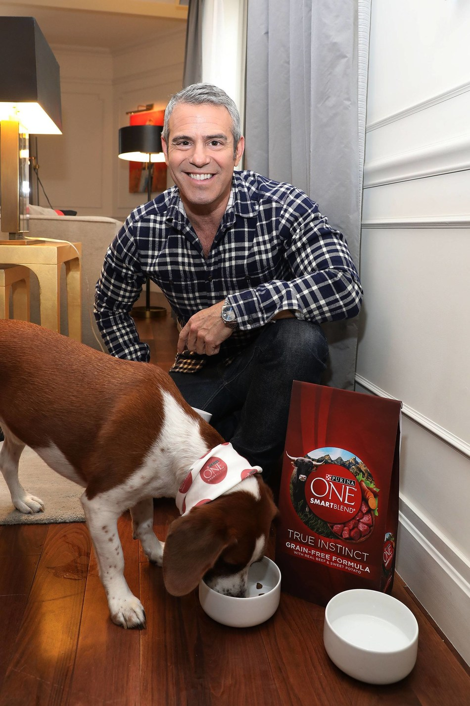 Andy Cohen's rescue dog, Wacha, enjoys a Purina ONE lunch on Thursday, April 20, 2017, in New York. Along with a $20,000 donation to North Shore Animal League America's Mutt-i-grees program, Purina ONE is partnering with Mutt-i-grees and Andy Cohen as part of its ONE Difference Campaign, which focuses on nourishing the lives of both students and shelter dogs across the country. (Amy Sussman/AP Images for Purina ONE).
