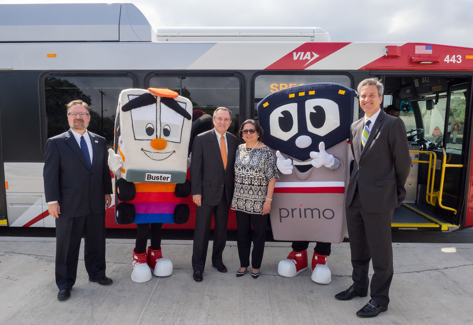 (l. to r.) VIA President/CEO Jeffrey C. Arndt, VIA mascot Buster, CPS Energy Board Chair Ed Kelley, VIA Board of Trustees Chair Hope Andrade, VIA mascot Primo, and CPS Energy Chief Operating Officer Dr. Cris Eugster.