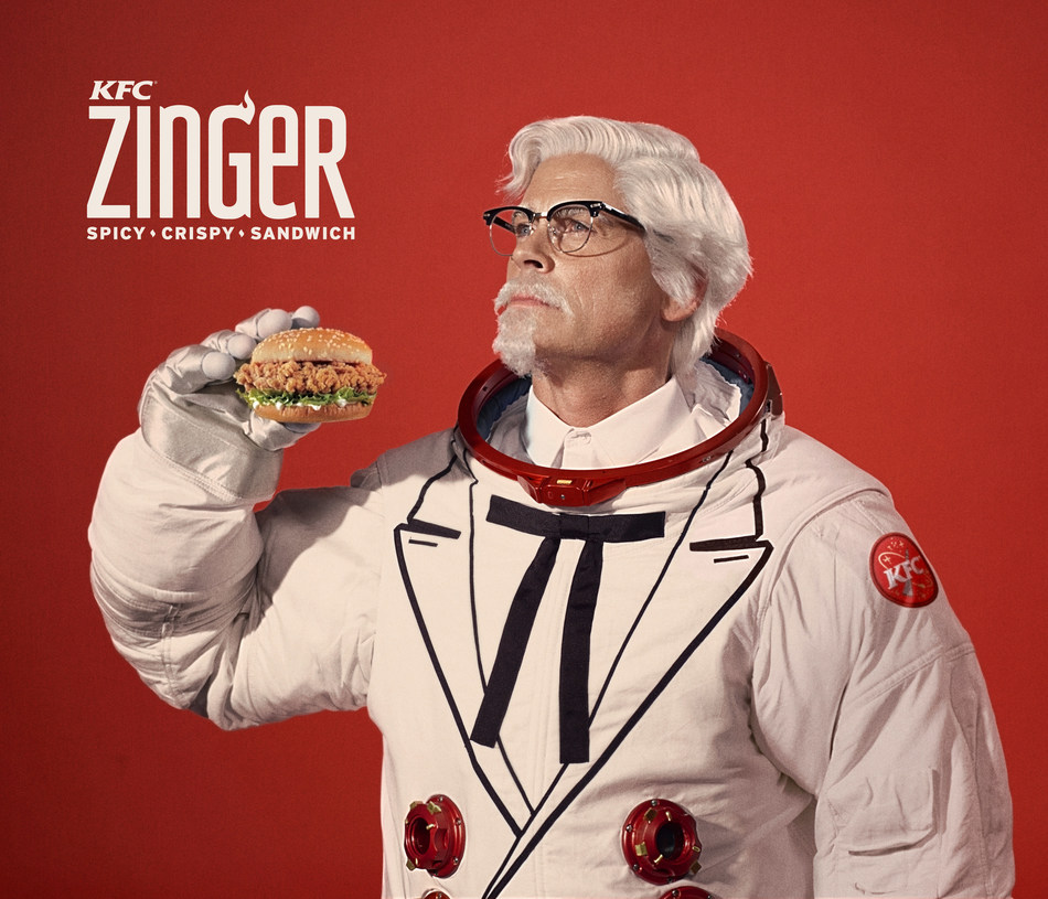 KFC has enlisted actor, writer and producer Rob Lowe as the newest celebrity Colonel to play the brand's iconic founder, Colonel Harland Sanders and to launch the KFC Zinger sandwich in the U.S. (and space).