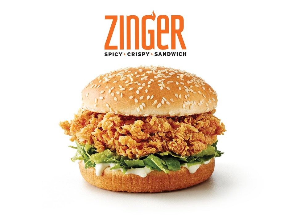 The KFC Zinger is a 100 percent chicken breast filet, double hand-breaded and fried to a golden brown by trained cooks in every KFC kitchen, and served with lettuce and Colonel's mayonnaise on a toasted sesame seed bun.