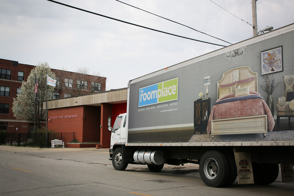 The RoomPlace visits Chicago Fire Department Engine 26 to donate new furniture as part of the company's $1 Million Community Care Pledge.