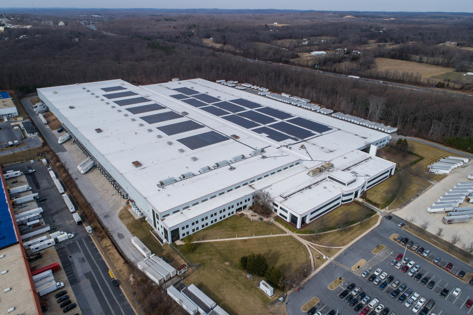 A 2.25-megawatt SunPower solar system on the Macy's and Bloomingdale's Fulfillment Center in Joppa, Md.