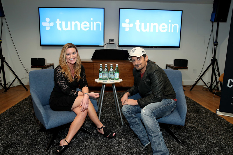 """(L-R) Kelly Sutton and Brad Paisley attend the TuneIn Presents Brad Paisley's """"Love and War"""" Album Premiere Special on April 3, 2017 in Santa Barbara, California. (Photo by Jonathan Leibson/Getty Images for TuneIn)"""