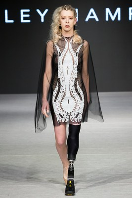 """Lesley Hampton is a graduate of Fashion Techniques and Design. """"In collaboration with be body aware - Find out what the world is saying about this inspiring collaboration and how we are breaking the norms in the fashion industry by bringing diversity to the runway and media"""" (CNW Group/George Brown College)"""