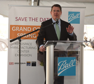 John Hayes, Chairman, President, and CEO, Ball Corporation, at Aerospace Manufacturing Center groundbreaking ceremony, April 20. Credit Ball Aerospace.