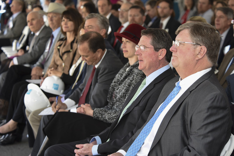 Ball executives, employees and special guests at Aerospace Manufacturing Center groundbreaking ceremony, April 20. Credit Ball Aerospace.
