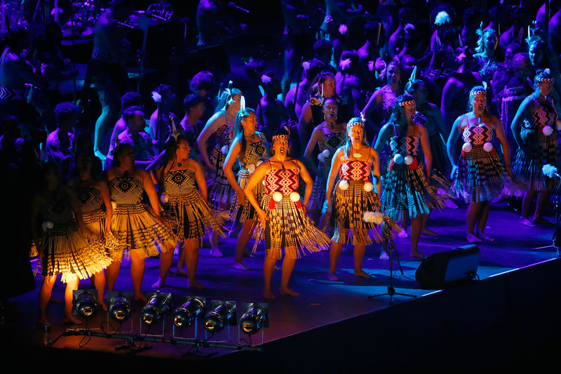 A laser light show featuring Maori culture and thousands of participants opened the World Masters Games Opening Ceremony at Eden Park in Auckland, New Zealand.