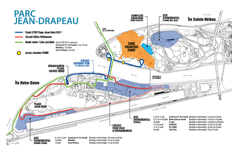 Plan d'accès - Parc Jean-Drapeau - Été 2017 (Groupe CNW/SOCIETE DU PARC JEAN-DRAPEAU)