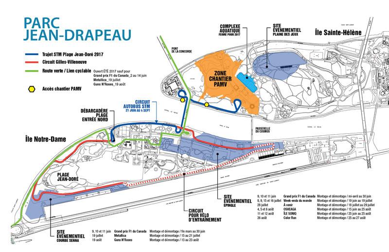 Access plan - Parc Jean-Drapeau - Summer 2017 (CNW Group/SOCIETE DU PARC JEAN-DRAPEAU)