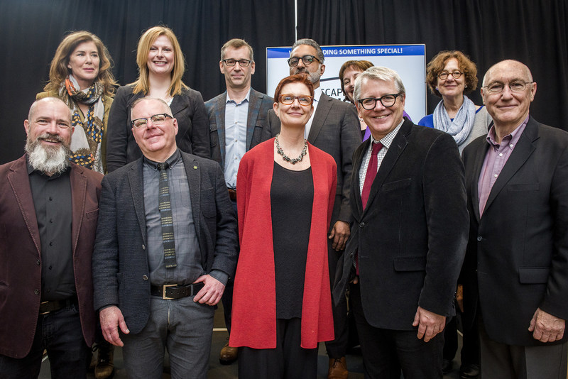 Back row, left to right: Sonja Smits, Toronto Artscape Foundation Board Chair; Sharon Avery, President and CEO, Toronto Foundation; Michael Trent, Performing Arts Program Director, The Metcalf Foundation; Karim Rahemtulla, Managing Director, Artscape Daniels Launchpad; Karen Thorne-Stone, President and CEO, Ontario Media Development Corporation; Cynthia Good, member of Ontario Trillium Foundation's Toronto Grant Review Team. Front row, left to right: Don Pugh, Vice President of The Daniels Corporation; Tim Jones, Artscape CEO; LoriAnn Girvan, Artscape COO; Adam Vaughan, Member of Parliament for Spadina–Fort York; John Campbell, Artscape Board Vice Chair. (CNW Group/Artscape)