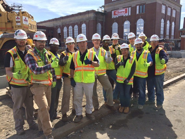 """Team members from Gilbane Building Company give a """"thumbs up"""" for safety. Construction crews across the U.S. and Canada will be celebrating Safety Week May 1-5 with the theme """"It's in our hands."""""""