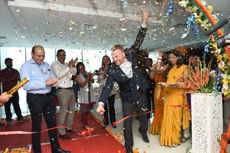 3Pillar CEO David DeWolf at the ribbon cutting of 3Pillar Global's new Noida office location