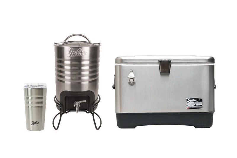 The Igloo Legacy Collection includes a stainless steel tumbler, 2.5 Gallon Beverage Jug, and a 54 Quart Cooler.