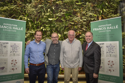 In front of the living wall at Montreal-Trudeau airport, Mr. Jérôme Dupras of Cowboys Fringants, Pierre Lussier, Director of Jour de la Terre, Philippe Rainville, President and Chief Executive Officer of Aéroports de Montréal, and Francis Hallé, Botanist, have launched the exhibition 50 years of scientific research and a partnership for the 375,000 Trees planting program as part of the celebrations marking Montreal's 375th anniversary. (CNW Group/Aéroports de Montréal)