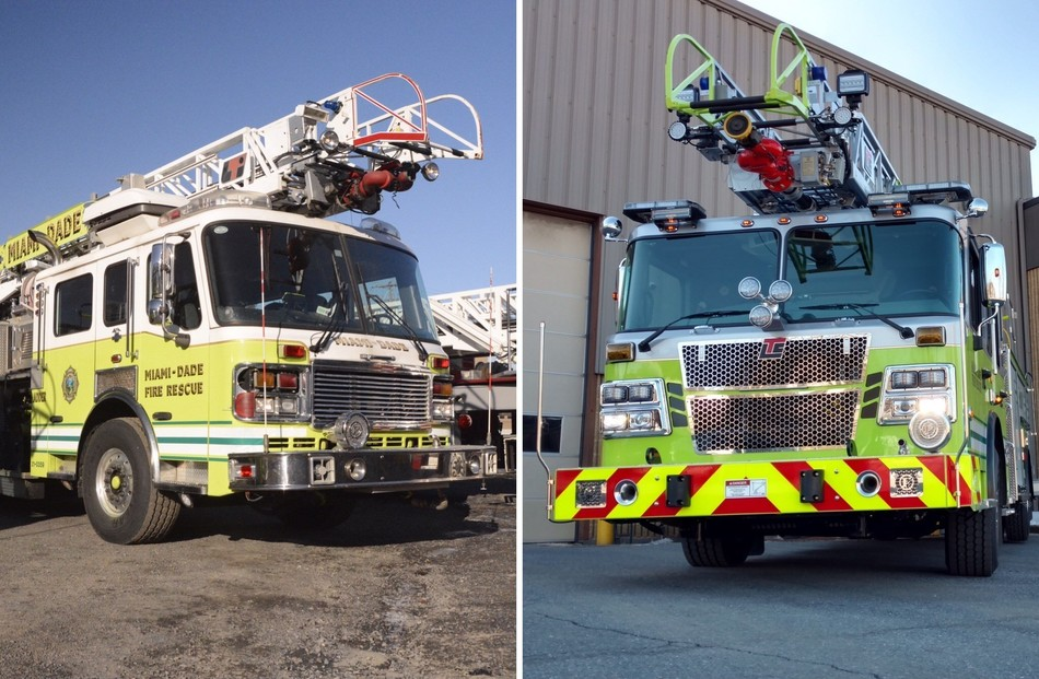 A before (left) and after (right) shot of a firetruck following a Spartan Refurbishment Center visit.