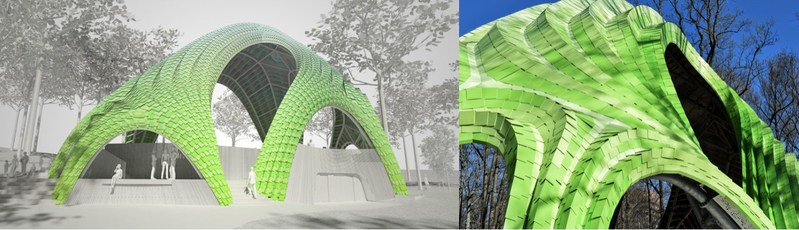 Left: Rendering of The Chrysalis courtesy of THEVERYMANY. Right: Image of The Chrysalis, an urban sculpture, outdoor concert venue and public park space, as it nears completion in Merriweather Park at Symphony Woods. Opened on Earth Day, April, 22, 2017, photo courtesy of Arup.