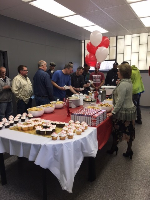 New Products employees celebrate the company's 95th birthday.