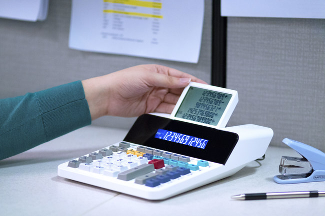 The Sharp EL-1901 provides an eco-friendly alternative to traditional printing calculators