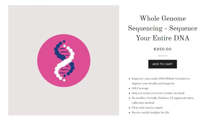 Dante Labs EUR 850 Whole Genome Sequencing