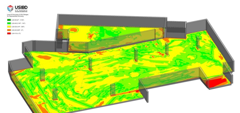 PointSense for Revit software now provides deformation of scan vs. BIM using USIBD Level of Accuracy (LOA) standards.