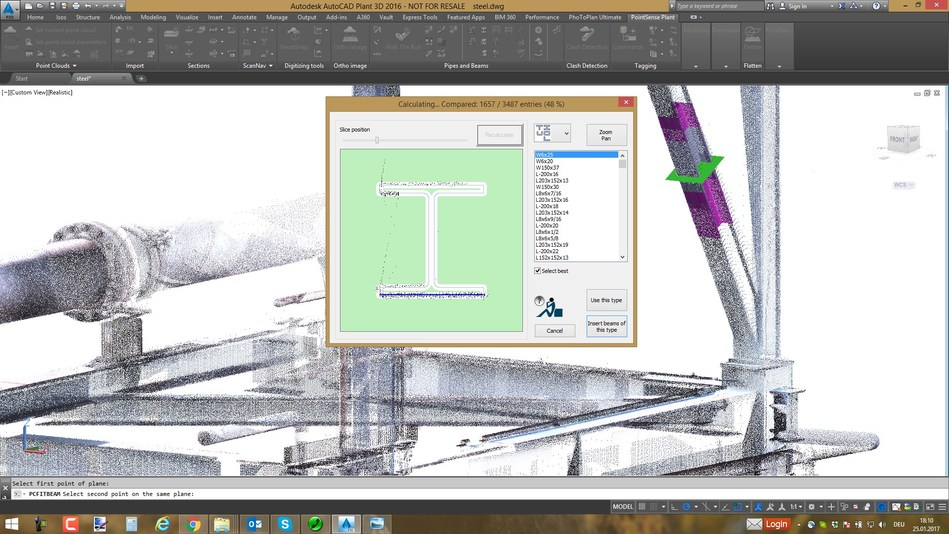 Steel beams can be modeled using PointSense Plant steel type recognition.