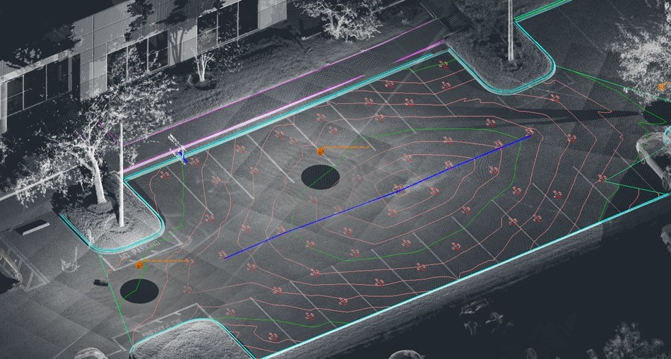 Draft parking lot topo features with intuitive SmartSnap tools in PointSense for AutoCAD