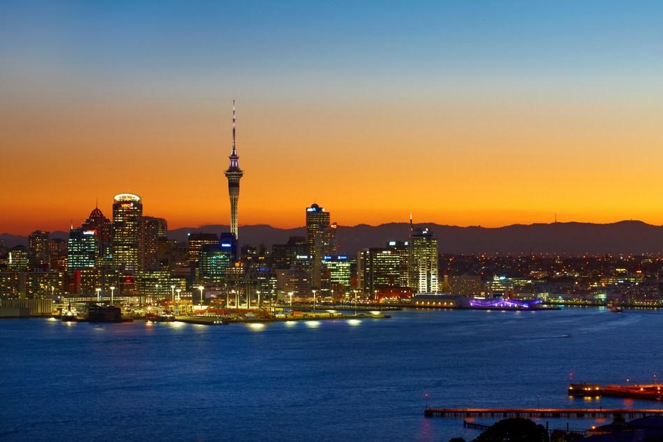 Auckland skyline at sunset.