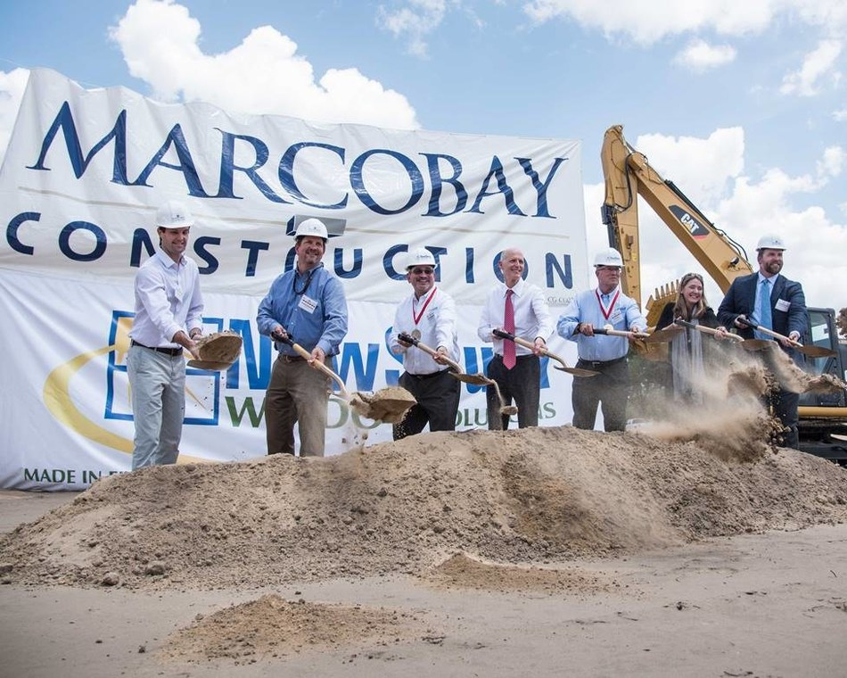 Florida governor rick scott breaks ground with window for Window manufacturers tampa