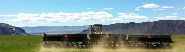 Planting organic wheat at Cascade Organic Farms