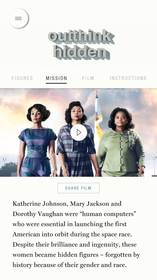 """Screen from new augmented reality experience from IBM and the New York Times Company's T Brand Studio, inspired by the movie, """"Hidden Figures"""""""