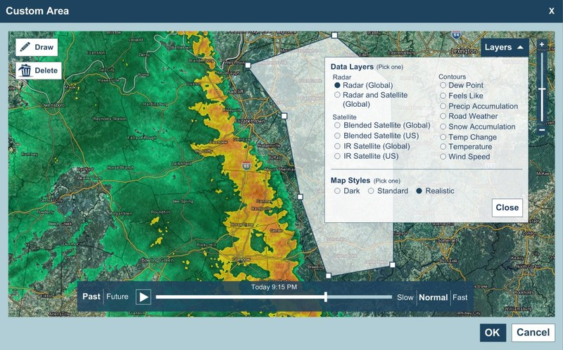 Weather video forecasts and alerts can be pushed to consumers through mobile, social, and web through automated geo-fencing technology based on preset requirements (as shown here). Content will be truly individualized based on a user's location down to street level.