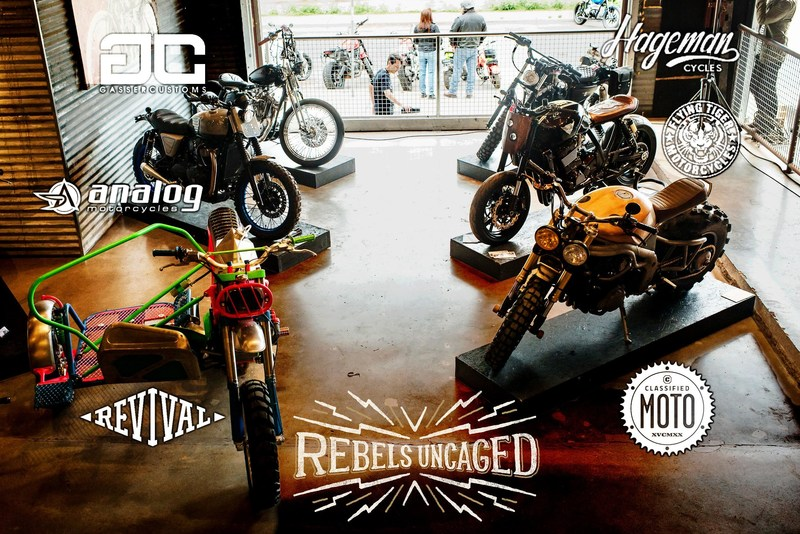The six custom motorcycles built for Rebel Yell's 2017 Rebels Uncaged motorcycle contest were unveiled at the Handbuilt Motorcycle Show in Austin, Texas, April 22, 2017. Details of the contest are available at www.rebelsuncaged.com.
