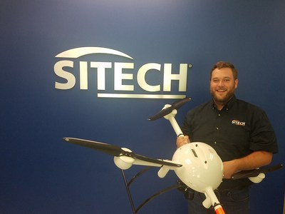 SITECH South's UAS/ Advanced Technology Specialist Matt Rosenbalm holds a Microdrones mdMapper1000DG.